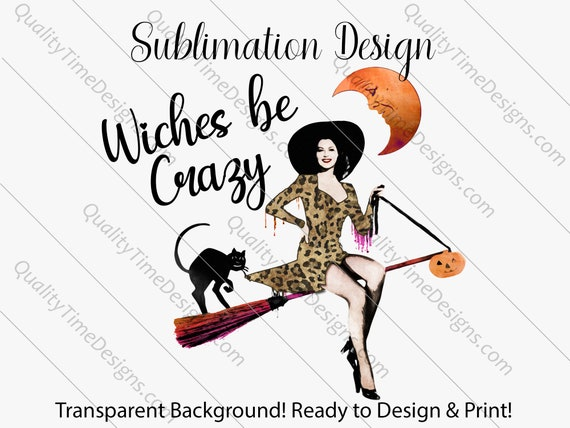 Funky Halloween Witch Clipart - Witches be Crazy 001 - Transfer Sublimation Design by Quality Time Designs