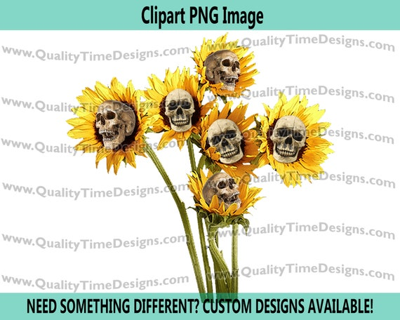 Skeleton Sunflower 101 - human skeleton Clipart Sublimation Transfer Crafting image - Halloween Clipart Fall - by Quality Time Designs