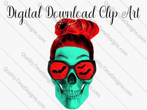 Printable Sublimation Designs - Girl Skull 008 - BOHO Floral Pink Orange Teal Green - by Quality Time Designs