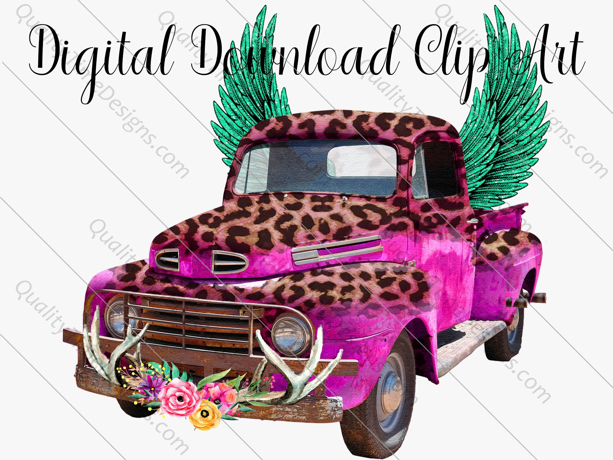 Watercolor Vintage Truck 021 Pink Leopard Clipart Rusty Rustic Country Chevy Pickup Retro Car Hand Painted Clip Art Graphic Instant Download
