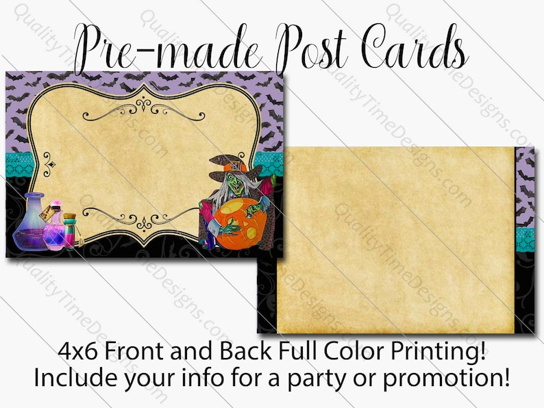 Full Color Print Front and Back Professionaly Printed Halloween Witch Party or Busines/_ Custom 4 x 6 Post Card Design and Printing