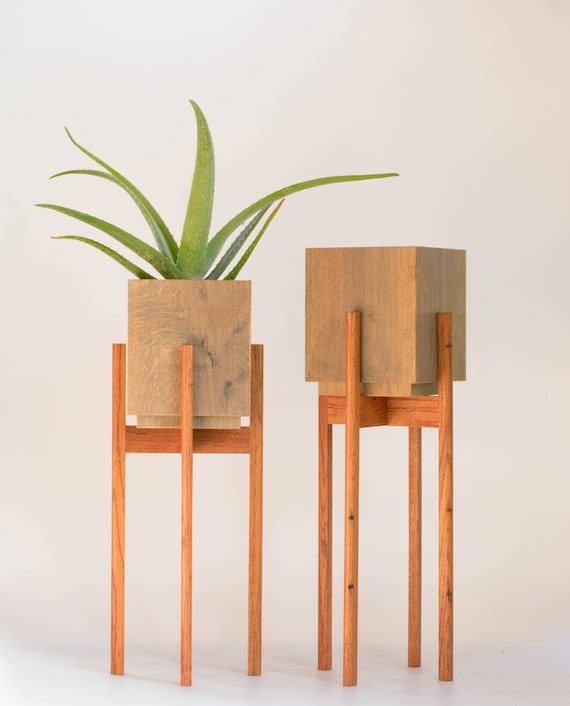 large mid century plant stand with pot plant stands indoor etsy. Black Bedroom Furniture Sets. Home Design Ideas