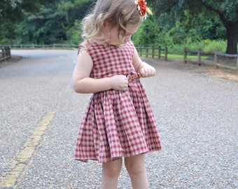 Vintage gingham peplum dress