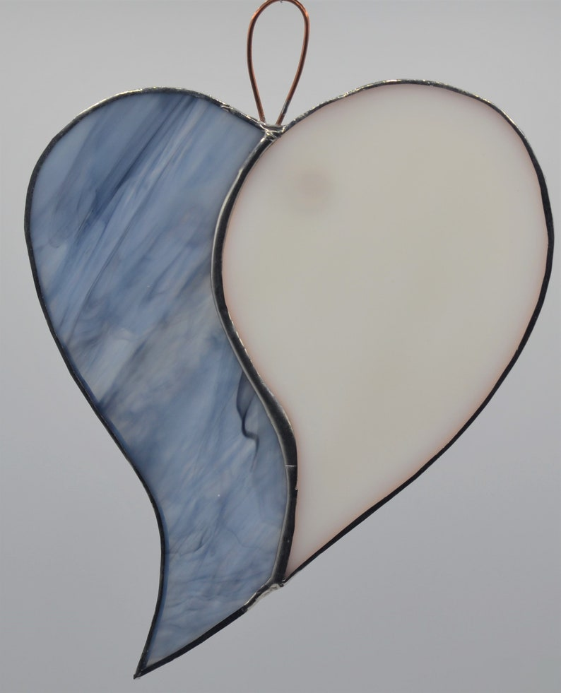 Stained glass heart two colored sun catcher
