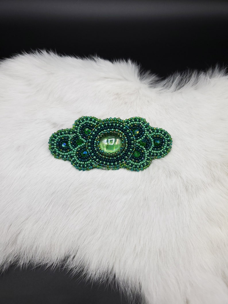 authentic Native American made Gorgeous green hair clip