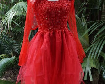 fairy dress petite mardi gras party halloween costume with sleeves and wings red