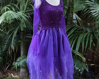 fairy dress petite mardi gras party halloween costume with sleeves and wings purple tinkerbell
