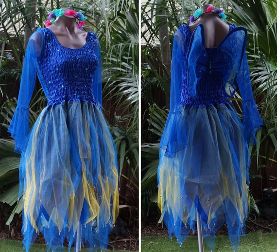 Women/'s Fairy Dress Party Costume with Sleeves /& Wings MINT wth PETAL SKIRT