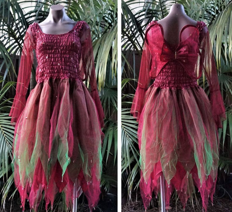 PLUS SIZE Fairy Dress Party Costume with Wings Red//Green