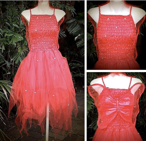 RED PLUS SIZE Fairy Dress Party Costume with Wings