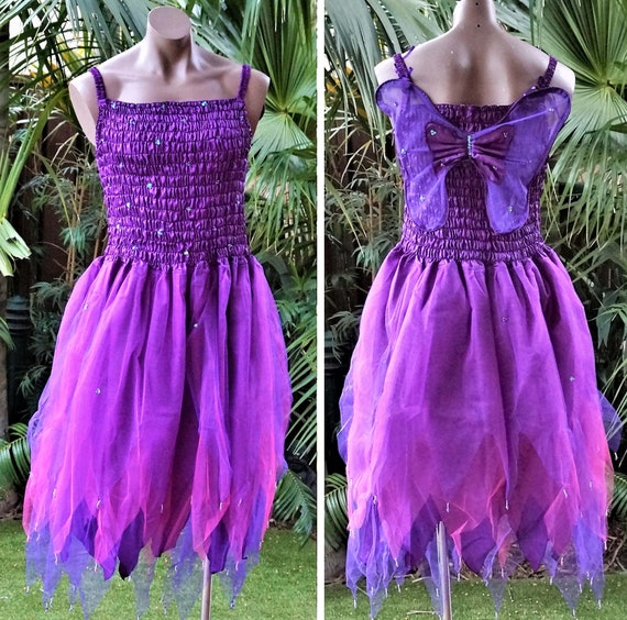 PLUS SIZE Fairy Dress Party Costume with Wings NEON