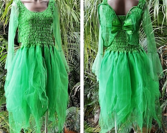 PLUS SIZE Women's Fairy Dress Adult Size Party Tinkerbell Costume with Sleeves and Wings - Forest Green