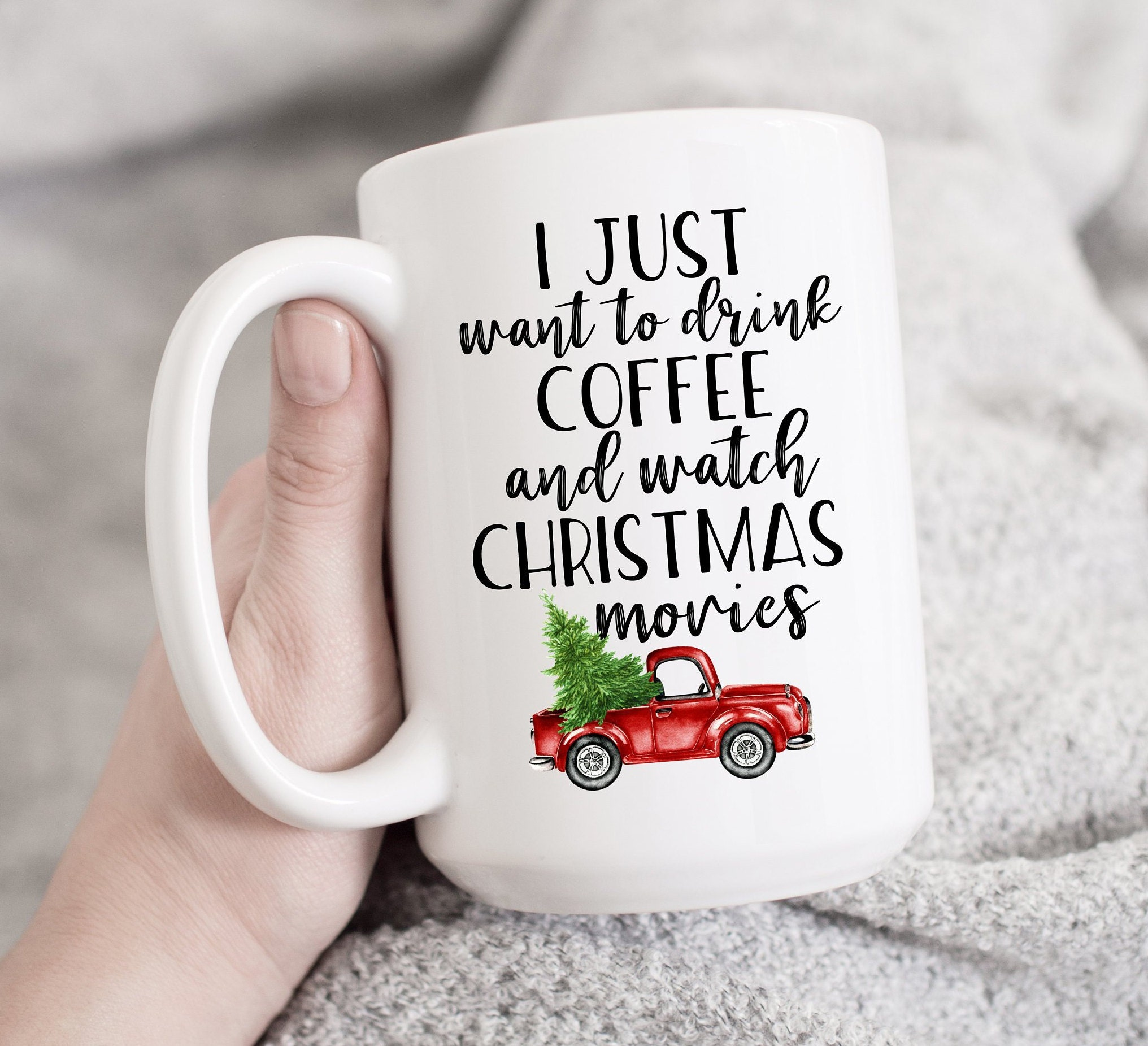 I just want to drink coffee and watch Christmas Movies Mug | Etsy