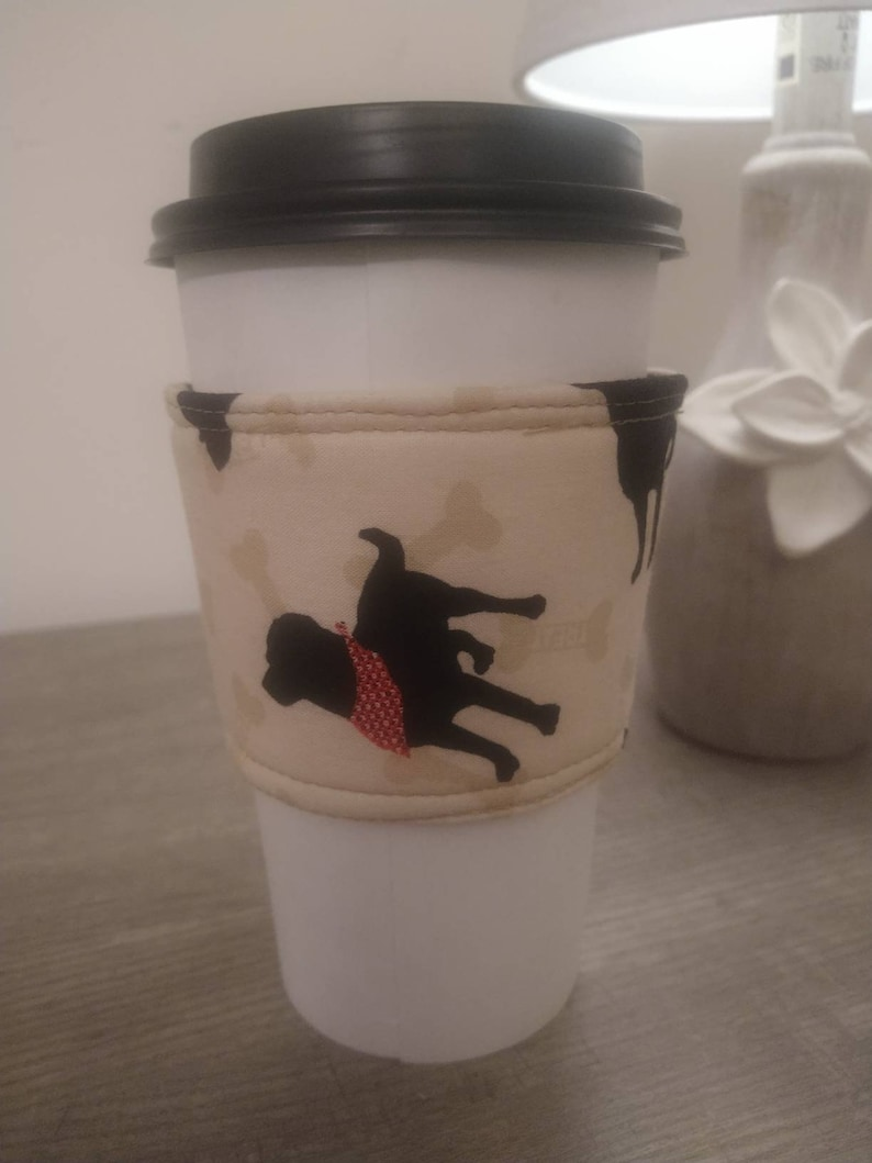Black lab dogs cotton fabric coffee cup sleeve cozie insulated image 0