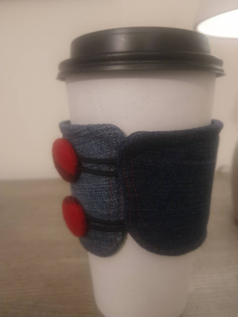 Repurposed jeans coffee tea cup cozie sleeve insulated with image 0