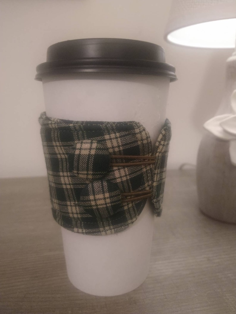 Green plaid fabric cotton coffee tea cozie sleeve insulated image 0
