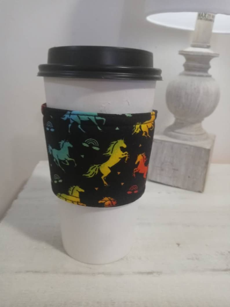 Colorful horse fabric hot and cold coffee sleeve cozy image 0