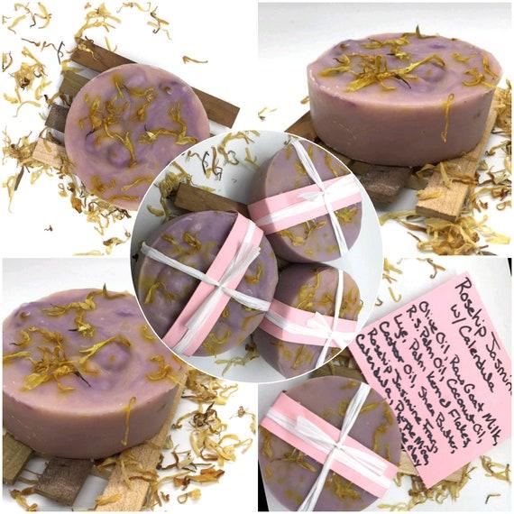 Homemade Soap, Goat Milk Soap, Rosehip Jasmine Soap, Flower Scented Soap,  Cold Process Soap, Gift for Her, Farm Gift, Goat Lover Gift