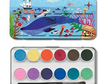 Eeboo In The Sea Watercolors for Kids 12 Colors