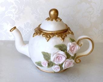 Tea Party Cake Topper. Tea Party Bridal Shower Cake Topper. Vintage Fondant Teapot. Edible Teapot Cake Topper. Vintage Tea Party Cake Topper