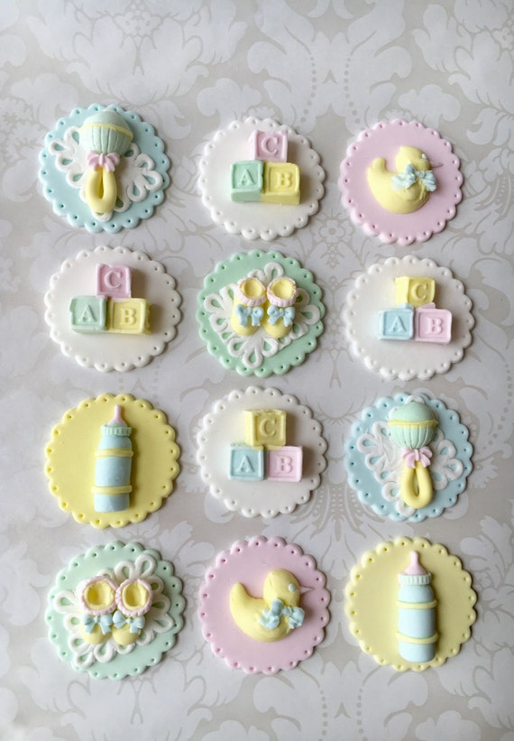 Baby Shower Fondant Cupcake Toppers Edible Baby Shower Etsy