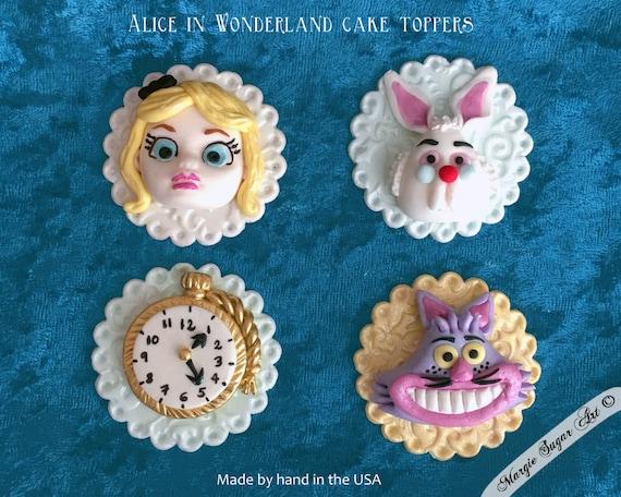 Alice In Wonderland Fondant Cupcake Toppers