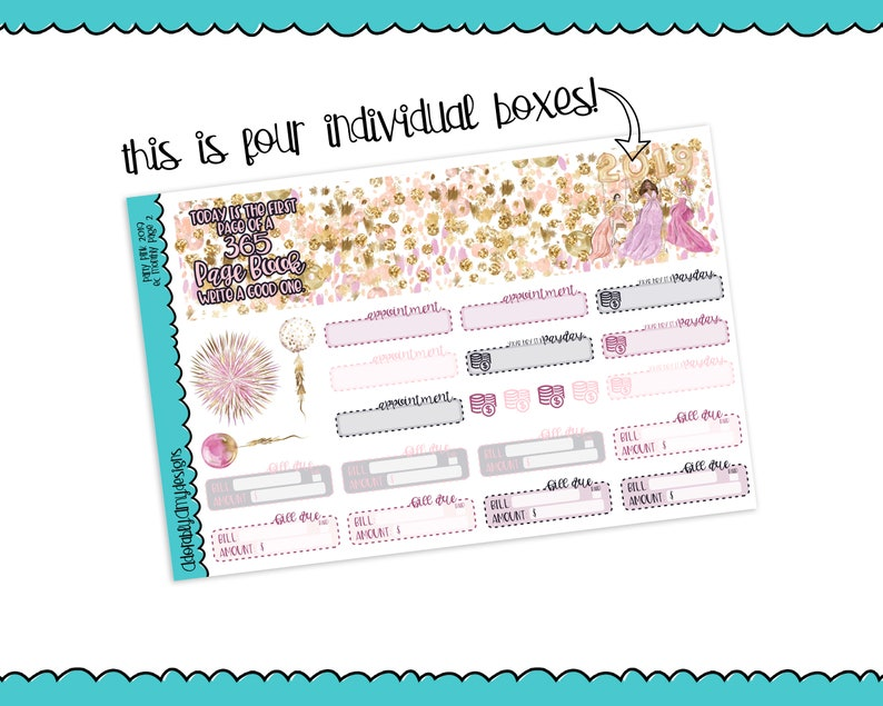 Pick Your Month Party Pink 2019 New Years Themed Monthly View Planner Sticker Kit for Erin Condren Planners or Happy Planner