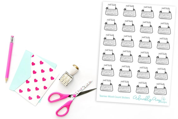 teenies doodled hand drawn word count trackers planner etsy