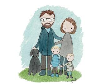 Custom Family Portrait Commission // Watercolor Illustration
