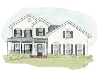 Custom Home Illustration // Original Watercolor Commission