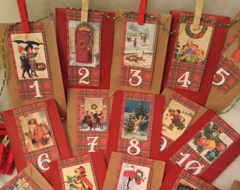 Advent calendar retro images, 24 kraft bags, 24 pliers, reusable, coloring option and candy to garnish the bags