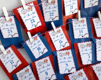 Advent calendar reverse envelopes, 24 pouches, 24 pliers, string, coloring option and sweets to garnish the bags