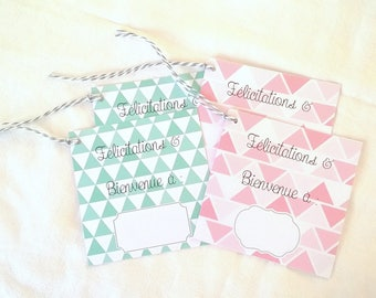 4 pastel square gift tags