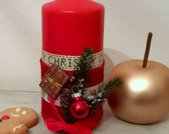 Christmas candle red Traditions of Christmas 15 cm