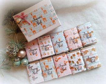 Christmas gift ATSEM or nanny, chocolates decoration pastel , customizable box, 10 chocolates decorated with Christmas forest patterns