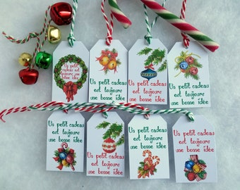 """8 Christmas labels, """"A small gift is always a good idea"""", retro pattern decoration, green and red string"""