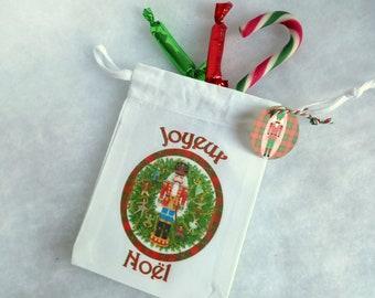 Christmas fabric bag, Nutcracker, 10 X 15 cm
