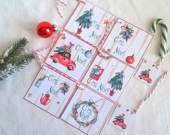Christmas gift tags, 6 tags Christmas, patterns, red and green watercolor + 2 mini labels as a gift