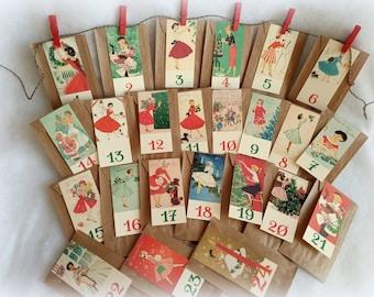 Vintage advent calendar, vintage ladies and ladies, 24 beige kraft bags, option garnished surprises and treats