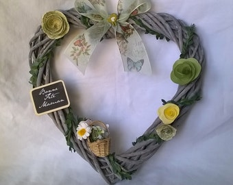 Mother's day wreath heart personalized 25 cm