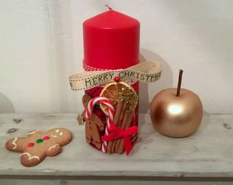 Christmas candle red Traditions of Christmas 20 cm