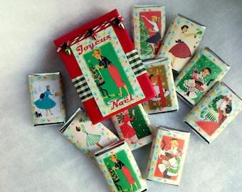 Vintage Christmas, chocolates illustrated ladies and ladies vintage, 10 chocolates in a decorated box