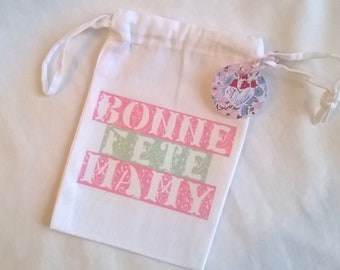 """Mother's Day, Grandmother's Day, Small """"Happy Birthday"""" cloth bag, customizable, 10 x 15 cm"""
