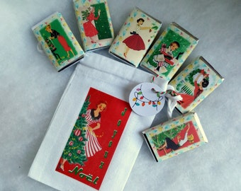 Christmas fabric bag, vintage lady 2, empty or with chocolates, vintage drawings of ladies and ladies at Christmas, 10 X 15 cm