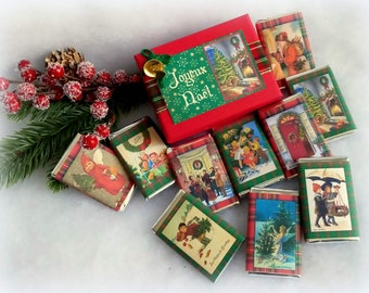 Traditional Christmas, retro illustrated chocolates, Red and Green Scots, 10 chocolates in a decorated box