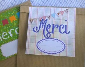 """2 19 x 12 gift bags mistress ATSEM """"Thank you"""" background beige kraft notebook"""