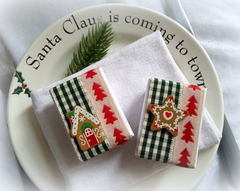 6 Christmas plate gifts, gingerbread, small filling box, 6x4 cm