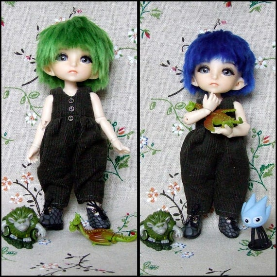 "5/""-6/""14cm BJD fabric fur wig Rime green Long straight hair 1//8 BJD Doll Antiskid"