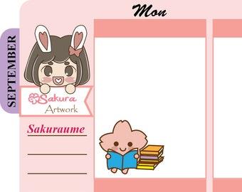 S025 SAKURAUME READING BOOK Decorative Stickers Planner Stickers