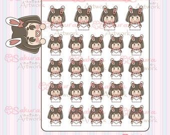 B006 - Bunbun Bunny Girl Happy Mail Envelope Decorative Stickers Planner Stickers